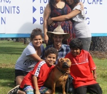 The Winkel Family from Gordonvale in July with Tonka The Furry Family member!